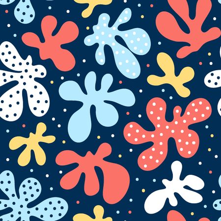 Stylized marine design, hand drawn vector pattern, abstract shapes and dots. Vettoriali