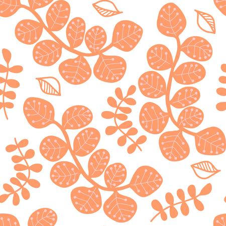 Decorative seamless pattern, stylized leaves, pink pastel.