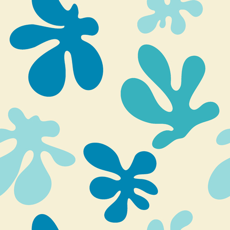 Decorative seamless pattern with blue hand drawn shapes.