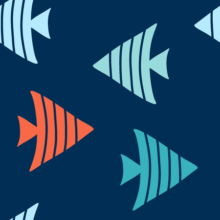 Seamless vector pattern with colorful striped fishes.