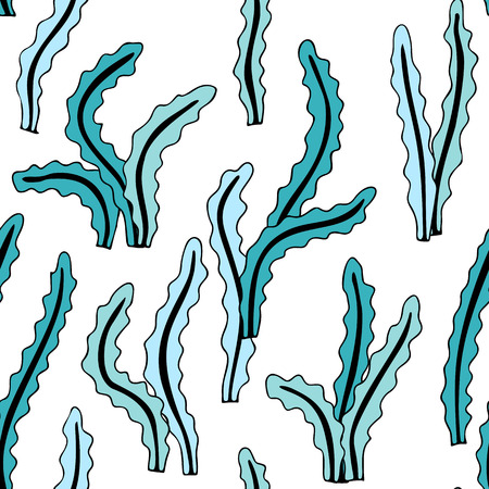 Hand drawn seaweed, seamless vector pattern, transparent backdrop Vettoriali
