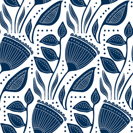 Stylized flowers and leawes, decorative monochrom seamless pattern, large scale design