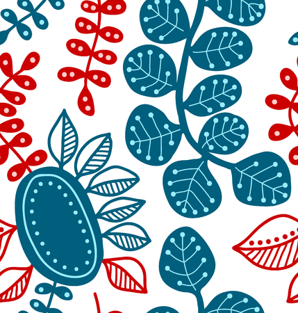 Seamless vector pattern, decorative stylized leaves, blue and red
