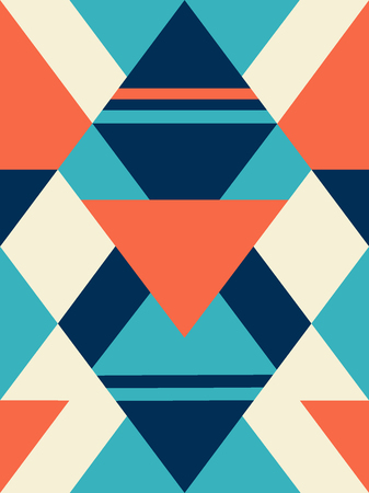 Geometric shapes, rhombus seamless pattern, triangles and stripes.