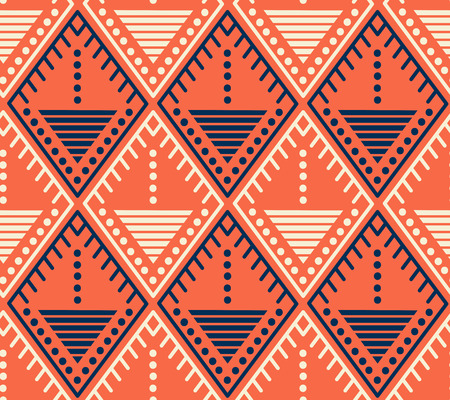 Stylized seamless pattern with rhombuses, lines, dots. Decorative background Vettoriali