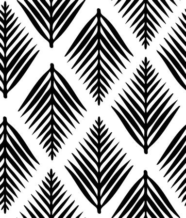 Black-white seamless pattern, hand drawn stylized leaves