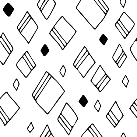Hand drawn rhombuses, seamless vector pattern, freehand style Vettoriali