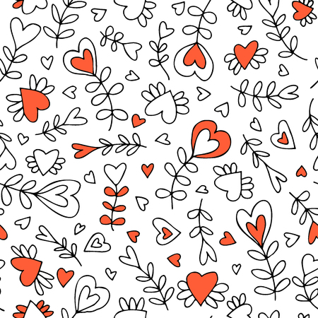 Vector seamless pattern with flowers and hearts, stylised plants Vettoriali