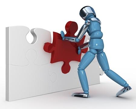 Robot puzzle Stock Photo