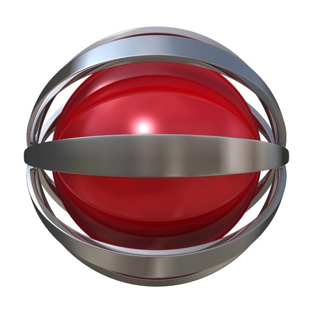 brand logo: Globe with metal stripes