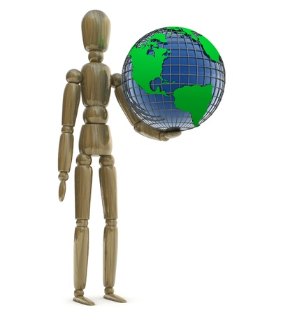 Character with Earth Stock Photo