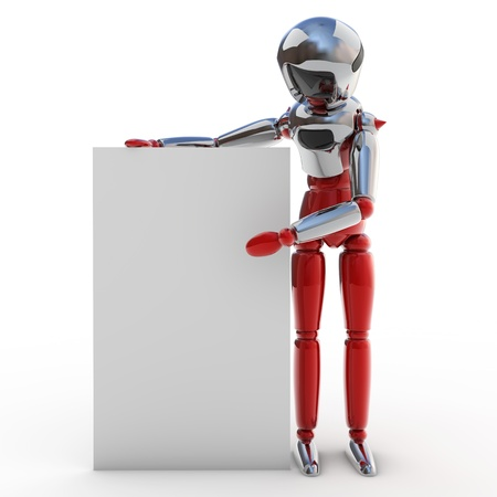 Robot with poster Stock Photo - 12470013