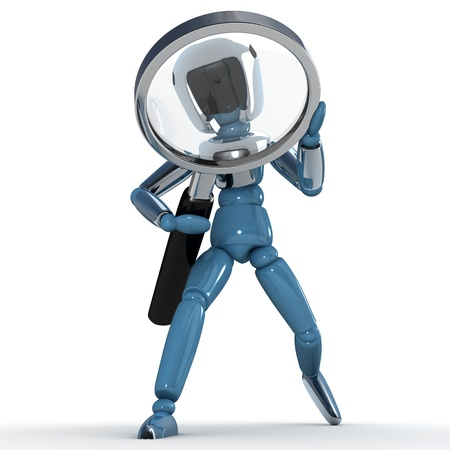 robot with Magnifying glass photo