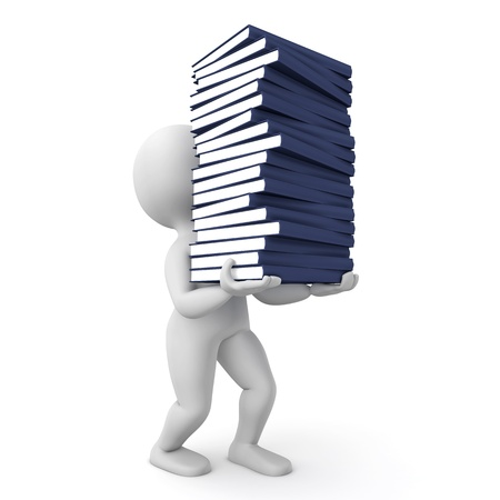Character carrying a pile of books