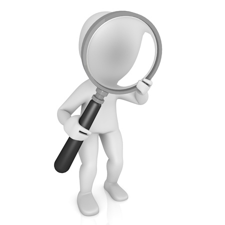 character looking through a magnifying glass Stock Photo