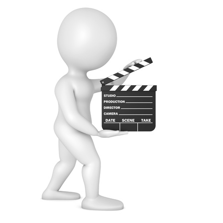 character with film slate Stock Photo - 21523454