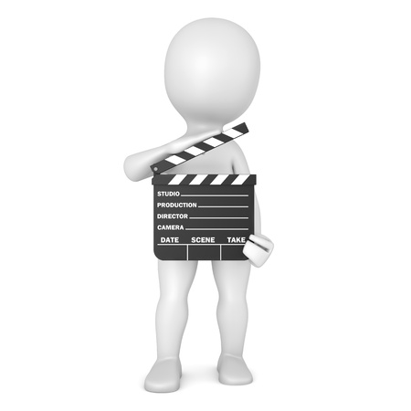 character with film slate Stock Photo - 21523455