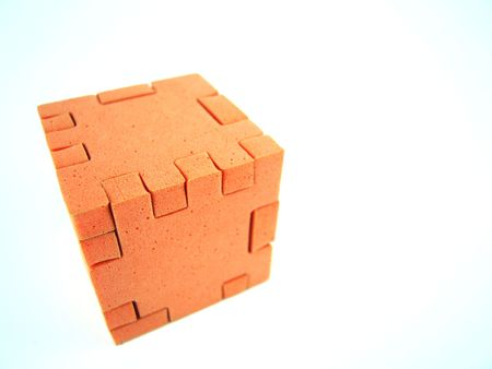 Orange puzzle cube put together Stock fotó