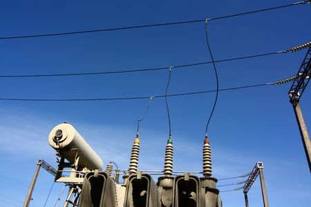 electricity  transformer and wires photo