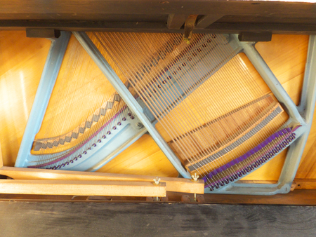 clogged: Clogged up to 3 mm rings upright piano soundboard