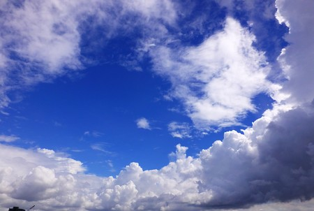 The summer blue sky and white clouds 1 Stock Photo