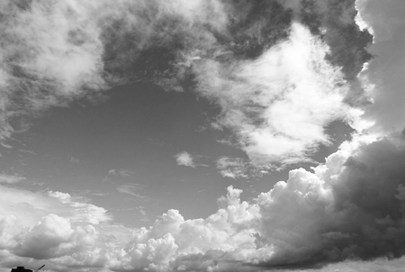 b w: The summer blue sky and white clouds 1 b & w Stock Photo