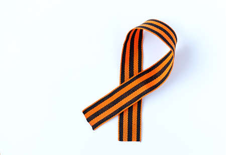 St. George ribbon is isolated on a white background. Symbol of courage and victory, May 9 and February 23