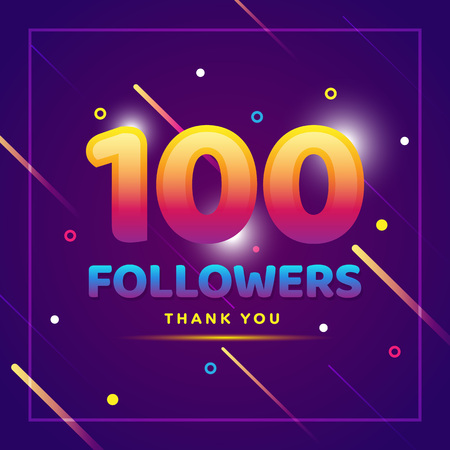 100 followers thank you colorful background and glitters. Illustration for Social Network friends, followers, Web user Thank you celebrate of subscribers or followers and likes