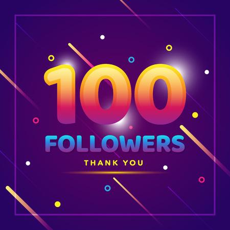 100 abonnés remercient un fond coloré et des paillettes. Illustration pour les amis du réseau social, les abonnés, les internautes Merci de célébrer les abonnés ou les adeptes et les goûts Vecteurs