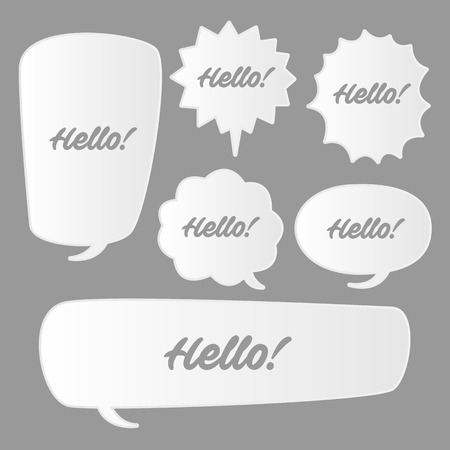 Trendy speech bubbles set in flat design with messages vector illustration