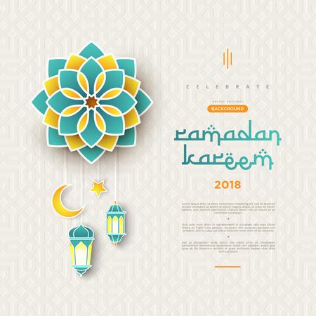 Banner di concetto di Ramadan Kareem con motivi geometrici islamici e cornice. Fiori recisi di carta, lanterne tradizionali, luna e stelle su sfondo verde scuro tosca. Illustrazione vettoriale Vettoriali