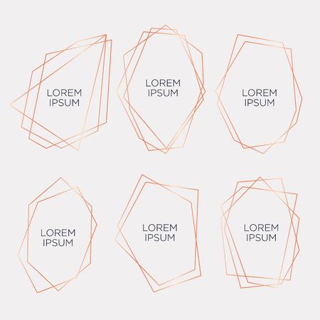 Gold collection of geometrical polyhedron, art deco style for wedding invitation and birthday party, luxury elegant templates, decorative patterns, Modern abstract elements, vector illustration, isolated on white backgrounds Ilustração Vetorial