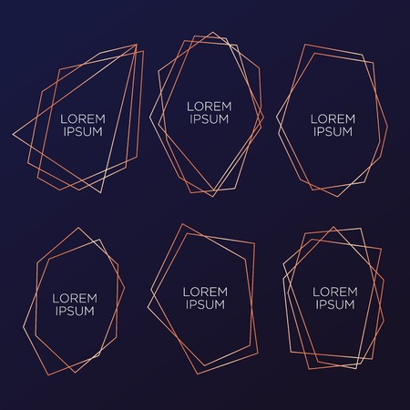 Gold collection of geometrical polyhedron, art deco style for wedding invitation and birthday party, luxury elegant templates, decorative patterns, Modern abstract elements, vector illustration, isolated on navy blue backgrounds