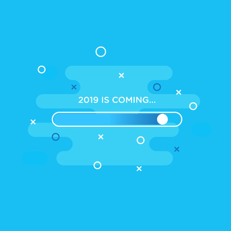 Happy New Year 2019 card theme. loading button sign on blue abstract fluid background 矢量图像