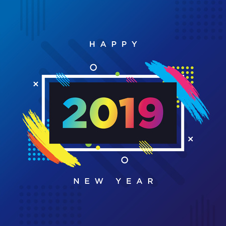 Happy New Year 2019 card theme. Vector background frame for text Modern Art graphics for hipsters.