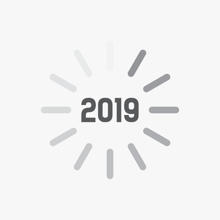Happy New Year 2019 card theme. Loading time sign icon for countdown. vector eps
