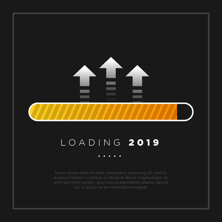 Happy New Year 2019 card theme. yellow loading time button with arrow on black background