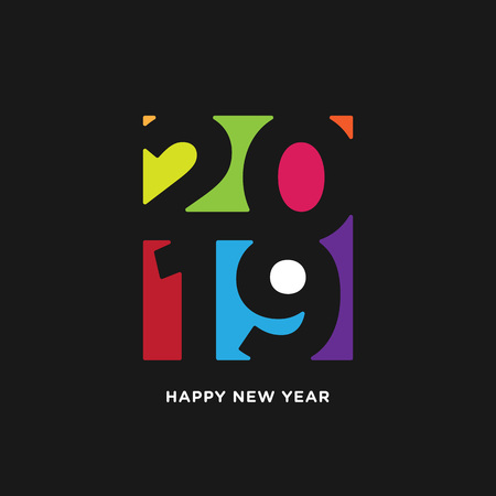 Happy New Year 2019 card in paper style. isolated colorful negative space on black background