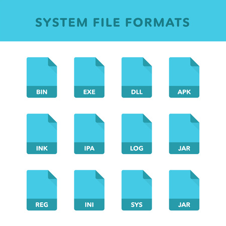 Set of system File Formats and Labels in flat icons style. Vector illustration