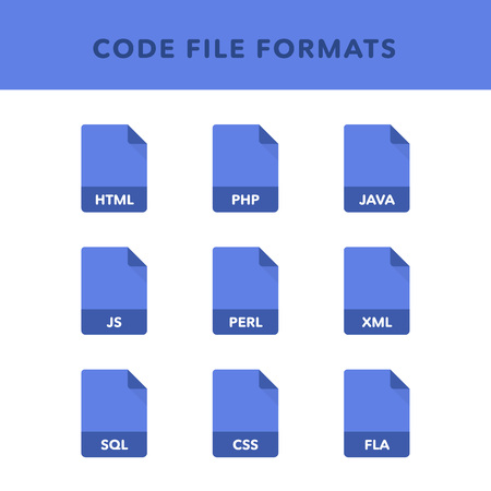Set of code File Formats and Labels in flat icons style. Vector illustration