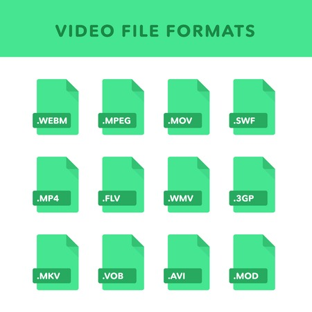 Set of video File Formats and Labels in flat icons style. Vector illustration 矢量图像