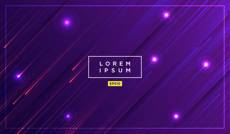 Diagonal stripes vector lines falling with shadow and glowing light illustration. Space and stars on dark purple background. Beautiful magic backdrop with text placeholder for your design