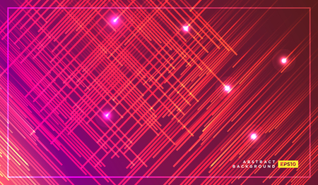 Diagonal stripes vector lines falling with glowing light illustration. Space and stars on dark red and orange background. Beautiful magic backdrop for your poster or web design