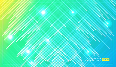 Diagonal stripes vector lines falling with shadow and glowing light illustration. Space and stars on dark green yellow background. Beautiful magic backdrop with text placeholder for your design