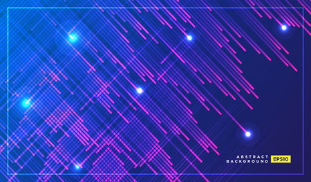 Neon Light Particles, Shooting Stars, Meteorites Flying at High Speed on Dark Space Background. Stylish Print Design. Holiday Seamless Pattern for Fashion, Cover, Screen. - Vector 矢量图像