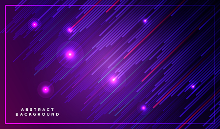 Diagonal stripes vector lines falling with shadow and glowing light illustration. Space and stars on dark purple blue background. Beautiful magic backdrop with text placeholder for your design 矢量图像