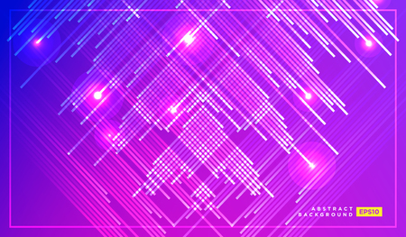 diagonal vector lines falling with glowing light illustration. Space and stars on dark purple background. Beautiful magic backdrop for your poster or web design 矢量图像