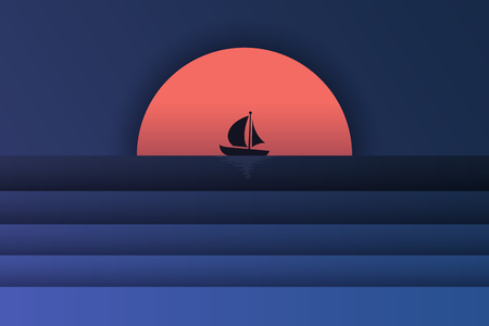 Illustraion of sea view and sunset in the evening with a mercusuar and the spotlight in the sea. Beautiful sunset seascape. paper cut and craft style. vector, illustration - Vector