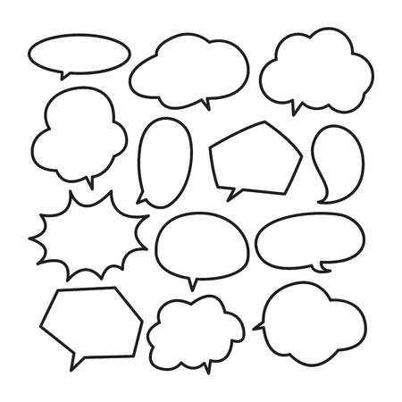 Various stickers of white speech bubbles vector set - stock vector Illustration
