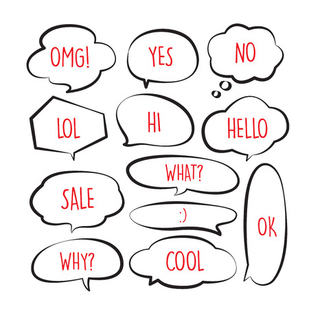 Various stickers of black line speech bubbles vector set with red text - stock vector Illustration